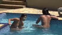 Amanda Souza e Safira Prado brincaram na Casa das Brasileirinhas